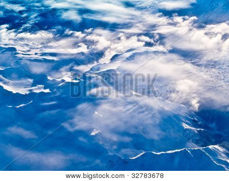 Aerial view of snowcapped peaks in BC, Canada