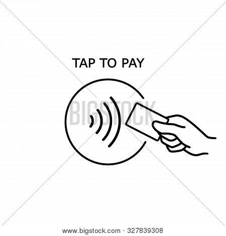 Contactless Payment, Credit Card And Hand Tap Pay Wave Logo. Vector Wireless Nfc And Contactless Pay