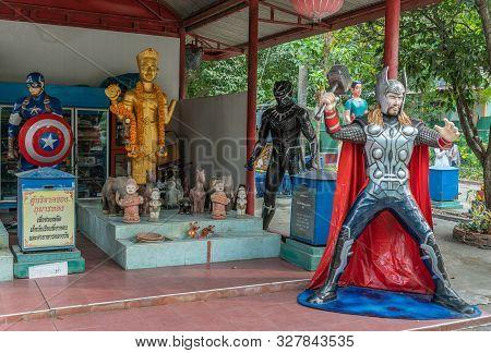 Bang Saen, Thailand - March 16, 2019: Wang Saensuk Buddhist Monastery. American Comic Superheroes On