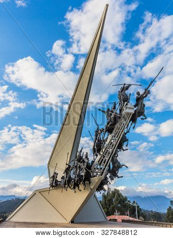 Paipa , Colombia - February 14, 2017 : Created by artist Rodrigo Arenas Betancur, the Vargas Swamp Lancers Memorial of the Colombian War of Independence