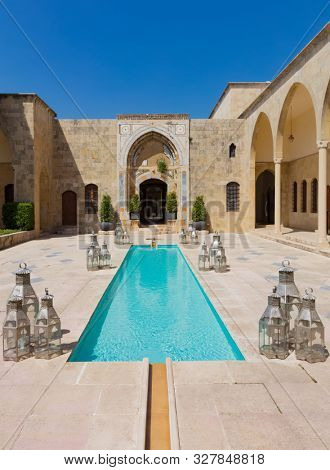 Beiteddine,Lebanon- April 28 ,2017 : Mir Amin Palace Hotel historic place of Beit ed-Dine in mount Lebanon region Middle east