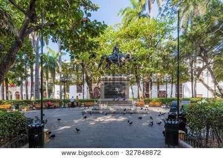 Cartagena , Colombia - March 9, 2017 : Centro Historico area of Cartagena de los indias Bolivar in Colombia South America