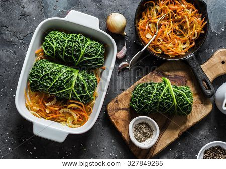 Making Vegetarian Delicious Lunch - Roasted Savoy Cabbage Stuffed Spicy Bulgur. Savoy Cabbage Bulgur