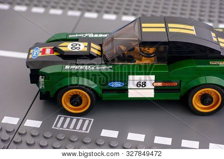 Tambov, Russian Federation - July 02, 2019 Lego 1968 Ford Mustang Fastback Car By Lego Speed Champio