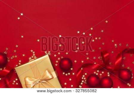 Flat Lay Xmas Holiday 2020 Celebration. New Year Christmas Golden Presents With Ribbon, Christmas Ba