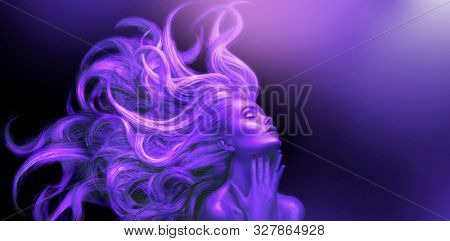 Neon Woman. Beauty fashion model girl with Long hair on black background in UV lights. Violet glowing skin and fluttering hair. Ultraviolet Dancing girl, art portrait, Hairstyle. Fashion art design.