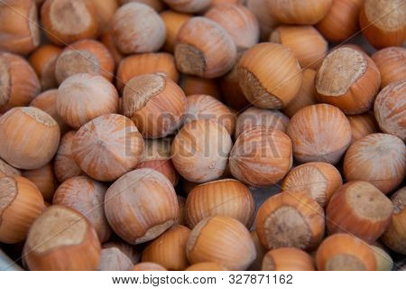 Food Background. Hazelnuts Texture. Top View . Hazelnut Nut Health Organic Brown Filbert Autumn Back