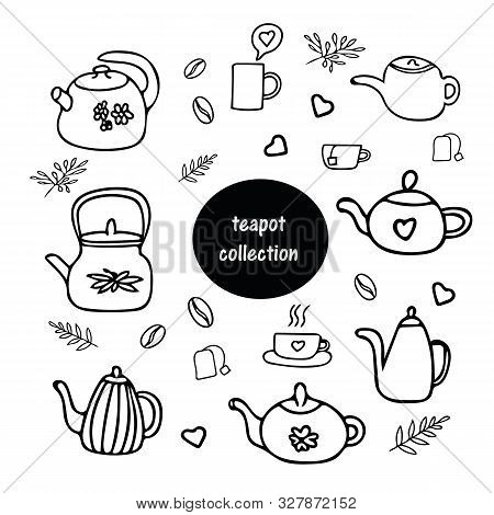 Doodle Style Teapot Collection. Scandinavian Cozy Simple Hygge Liner Style. Hand Drawn Pot, Kettle,