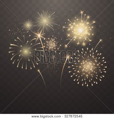 Bright Fireworks Explosions Isolated On Transparent Background. New Years Eve Fireworks. Festive Spa