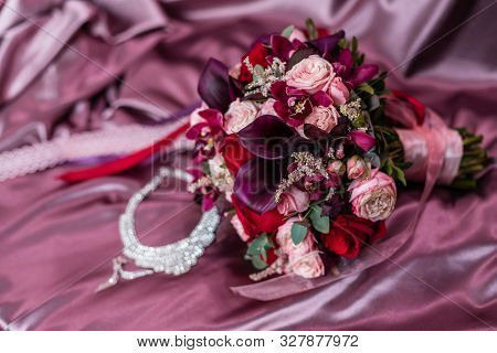 The Bride's Bouquet Boutonniere And Necklace With Shining Cubic Zirconias