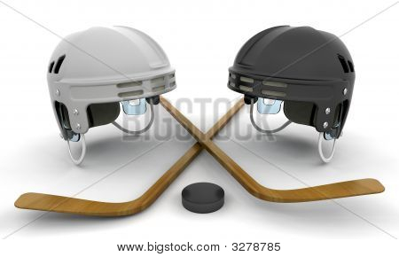 Ice Hockey Helmets, Sticks And Puck