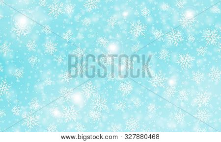Snow Background. Vector Illustration With Snowflakes. Winter Blue Sky. Christmas Background. Falling