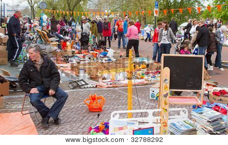 Typical Dutch Flea Market On Queen's Day