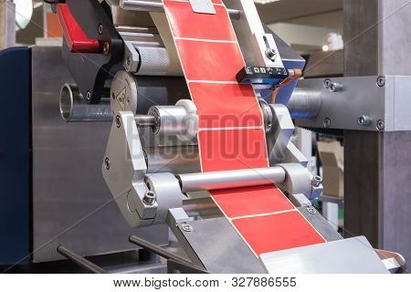 Fragment Of The Conveyor Of The Pharmaceutical Labeling Machine. Abstract Industrial Background.