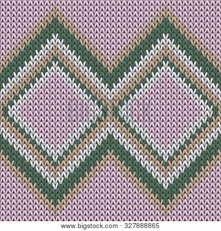 Material Rhombus Argyle Christmas Knit Geometric Seamless Pattern. Jacquard Knitwear Structure Imita