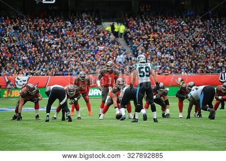 LONDON, ENGLAND - OCTOBER 13 2019: The NFL game between Carolina Panthers and Tampa Bay Buccaneers at Tottenham Stadium in London, United Kingdom.