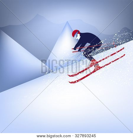 Skier Descends From The Mountain - Abstraction, Vector. Winter Sport. Skiing. Freestyle.