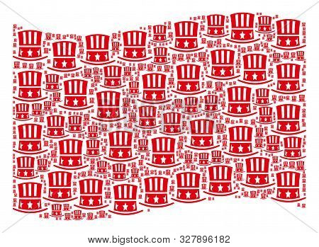 Waving Red Flag Collage. Vector Uncle Sam Hat Design Elements Are Organized Into Conceptual Red Wavi