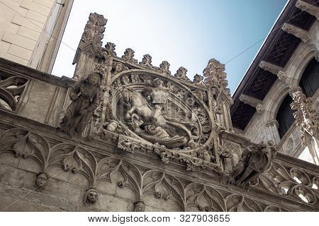 Las Ramblas, Main Zone Of Barcelona, St George, Patron Saint Of The City At The Top Of An Entrance A