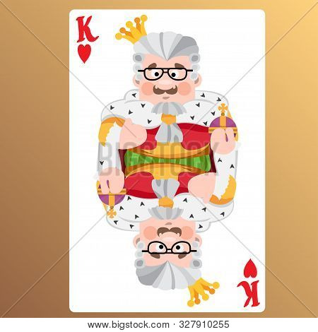 King Of Heart. Playing Cards With Cartoon Cute Characters.