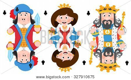 King, Prince, Queeen Clubs. Playing Cards With Cartoon Cute Characters.