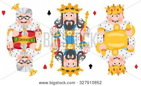 Kings Of Three Suits: Hearts, Clubs And Diamonds. Playing Cards With Cartoon Cute Characters.