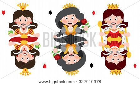Queens Of Three Suits: Hearts, Spades And Diamonds. Playing Cards With Cartoon Cute Characters.