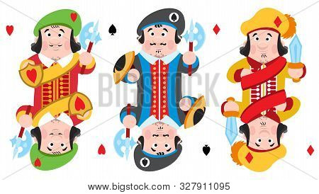 Jacks Of Three Suits: Hearts, Spades And Diamonds. Playing Cards With Cartoon Cute Characters.