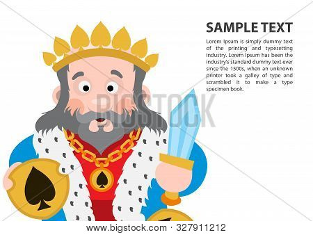 King Of Spades. Playing Cards With Cartoon Cute Characters. Background With A Zone For Text And A Fu