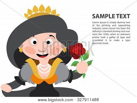 Queen Of Spades. Playing Cards With Cartoon Cute Characters. Background With A Zone For Text And A F