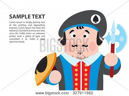 Jack Spades. Playing Cards With Cartoon Cute Characters. Background With A Zone For Text And A Funny