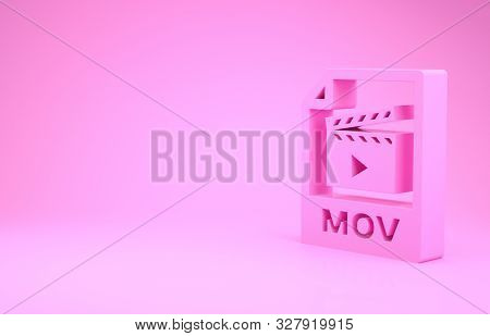 Pink Mov File Document. Download Mov Button Icon Isolated On Pink Background. Mov File Symbol. Audio