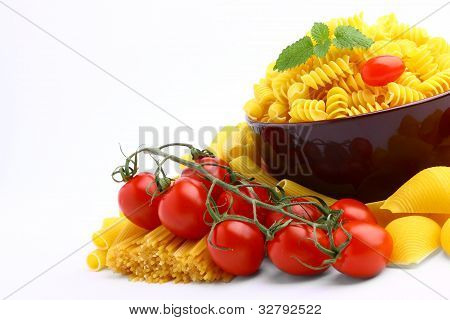 Delicious tomatoes with pasta isolated on white background poster