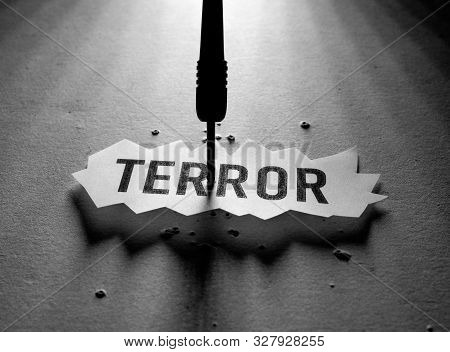 Close Up Of A Terror Tag Implying Fear And Terror