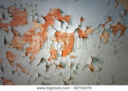 Aged Peeling Paint on Concrete