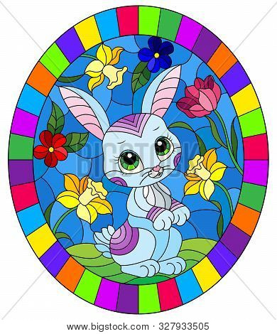 Illustration In Stained Glass Style With A Cute Cartoon Blue Rabbit On A Background Of Bright Flower