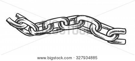 Iron Chain Protective Accessory Monochrome Vector. Separate Classic Chain For Bind And Safe. Linked
