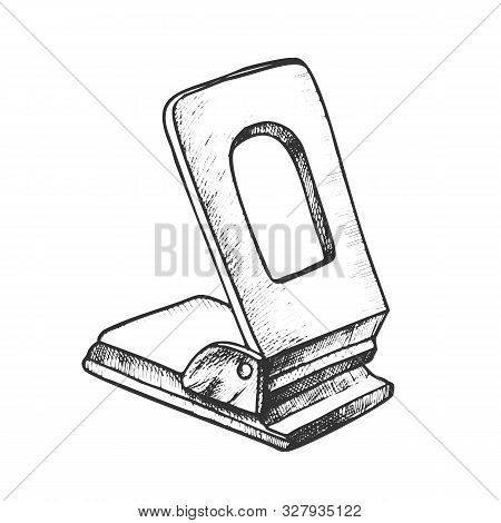 Puncher Stationery Equipment Monochrome Vector. Office Tool Puncher For Make Holes And Attachment Pa