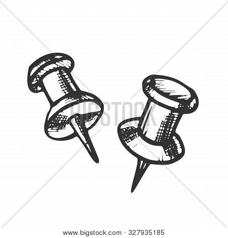 Thumbtack Push Pin Office Business Tool Ink Vector. Thumbtack Equipment For Attach On Noticeboard. M