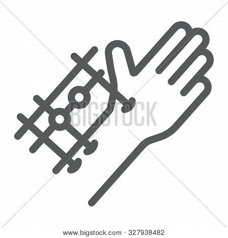Fixation Joints Surgery Line Icon, Medical And Equipment, Hand Surgery Sign, Vector Graphics, A Line