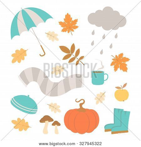 Vector Set Of Autumn Icons, Falling Leaves, Cup Coffe, Pumpkin, Wellies, Mushroom, Cap, Scarf And Cl