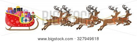 Santa Claus Sleigh Full Of Gifts And His Reindeers. Happy New Year Decoration. Merry Christmas Holid