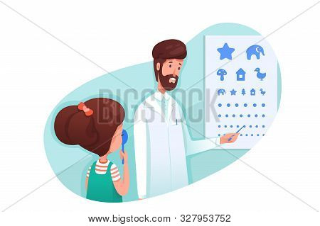 Ophthalmology Clinic Visit Flat Illustration. Male Oculist Pointing At Children Eyesight Test Chart