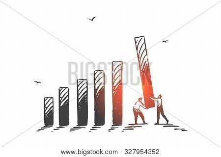 Harmonious Teamwork, Cooperation, Business Partnership Concept Sketch. Businessmen Male Characters C