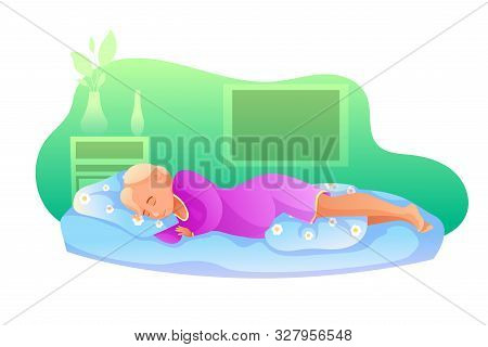 Sleeping Pregnant Woman Flat Vector Illustration. Pregnancy Period. Maternal Health Care. Young Girl