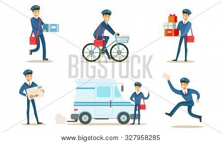 Cheerful Postman Or Mailman Delivering Mails And Packages Set Vector Illustration