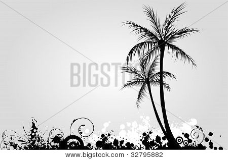Palm Trees On Grunge Background