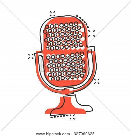 Microphone Icon In Comic Style. Mic Broadcast Vector Cartoon Illustration Pictogram. Microphone Mike