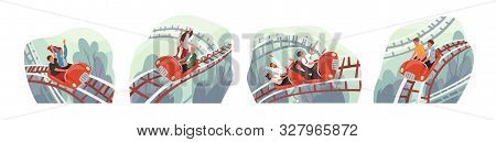 People Ride Roller Coaster Flat Vector Illustrations Set. Friends And Colleagues Cartoon Characters.