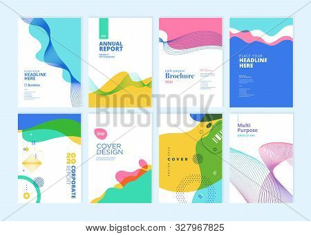 Set Of Brochure, Annual Report, Cover Design Templates. Vector Illustrations For Business Presentati